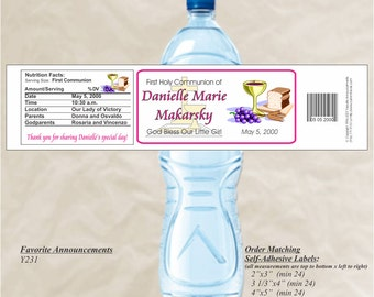 Communion Favors, Custom Labels, Religious stickers, custom water bottle, First Holy Communion, Baptism Labels (Set of 20)(Y231)