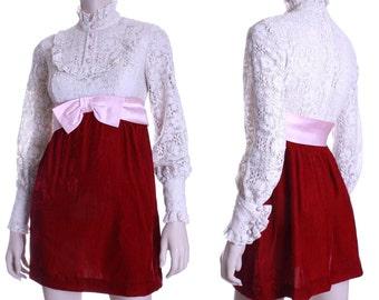 60s Dress Up Dolly lace & velvet empire waist dress - xxs xs or small