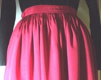 SKIRT, VINTAGE, DESIGNER, Silk Skirt, Jack Mulqueen, American Designer, Size 6, 100% Silk, Soft Shirring, Dirndl Skirt