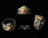 Intricate 14kt European Yellow Gold, Black Silver, Ruby and Diamond Fashion or Engagement Mens or Ladies Ring. DeMer Jewelry Vollmacht.