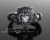 Claddagh ring with Celtic knot work weave in solid platinum with colorless ideal cut and heart diamonds. Victorian engagement promise ring