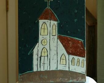 Original Acrylic Painting - Midnight Service - Faith, Christian, Inspirational, Church, Urban, Rustic