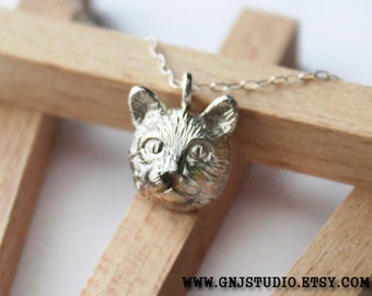 Silver Cat Nacklace - Cat Necklace - Animal Jewelry - Cat Jewelry