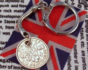 Lucky 1958 6d Sixpence English Coin Keyring Key Chain Fob Queen Elizabeth II
