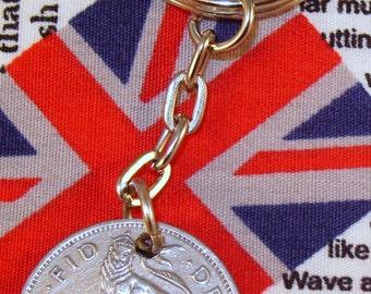 1951 Old English Shilling Coin Keyring Key Chain Fob King George VI