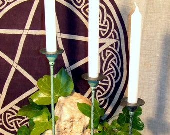Vintage Candle Holder Set  Verdigris including 3 Ritual Candles Pagan Witch Wicca