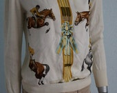 Hermes Paris authentic vintage silk jersey sweater blouse in cream horses