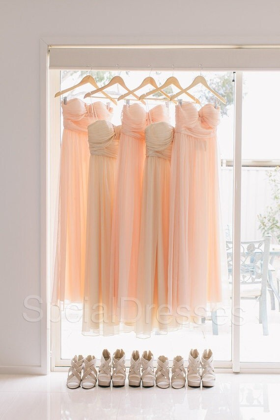 Fascianting Peach A-line Sweetheart Neckline Floor Length Bridesmaid/Prom/Wedding Party Dress, custom made, made to order