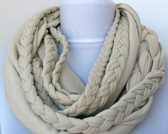 Wheat Loop Scarf - Infinity Jersey Scarf - Partially braided Circle Scarf - Scarf Nekclace