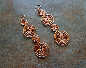 Spiral Copper Wire Dangle Earrings, Ancient Jewelry