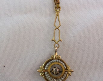 1880s LAVALIER PENDANT VICTORIAN Gold Diamond and Pearls