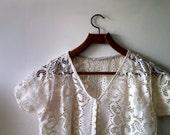 Unique vintage boho lace short sleeve duster/ bohemian hipster wedding overcoat SALE