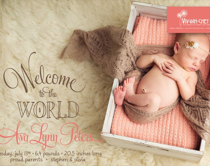Welcome to the World Photo Birth Announcement | Digital Download