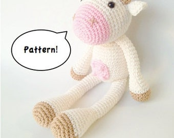 Amigurumi Cow Pattern, Crochet Cow Pattern, Amigurumi Cow, Farm Crochet Pattern, Cow Knitting Pattern