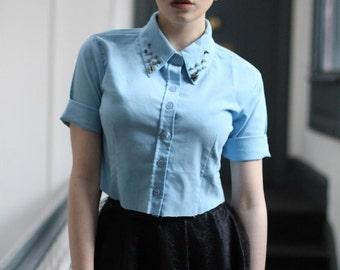 Pretty Disturbia Blue Punk Studded Collar Cropped Shirt
