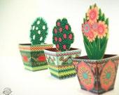 COMBO SAVER: Set of 3 Mini Flower Pots   DIY Paper Toys / Favor Box / Containers   Printable A4size pdf templates   Instant digital download
