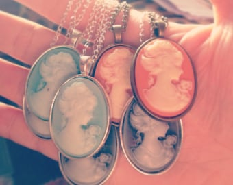 Lady Cameo pendant necklace available in green, black or coral orange.