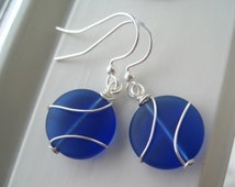 Sea Glass Earrings - Blue Sea Glass Jewelry - Wire Wrapped Earrings - Cobalt Blue - Frosted Glass Jewelry - Small Round - Cultured Sea Glass