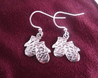 Mitten Earrings - Silver Charm Earrings - Winter Earrings - Winter Jewelry - Charm Jewelry - Mitten Jewelry - Small Earrings - Small Jewelry
