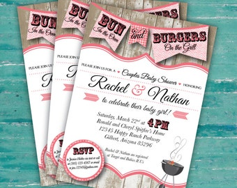 "couples bun in the oven baby shower bbq invitation, digital, printable file, 5"" x 7"""