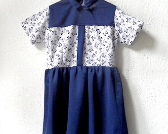 Evie - 1970's Blue and White Floral Dress - Age 5 to 7 Years