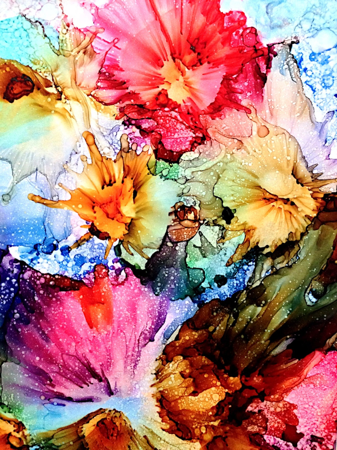 alcohol ink painting abstract spring bursts