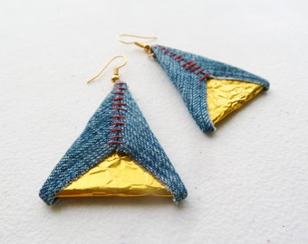 Denim and Gold Foil Triangle Earrings Eco Friendly Recycled Upcycled - Red Hand Stitch - Blue Geometric Jewelry Urban by upmade