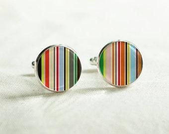 Cuff links-  Colorful  stripes cuff links, Paul Smith Color cufflink, New Year Cufflinks, Men's Cufflinks