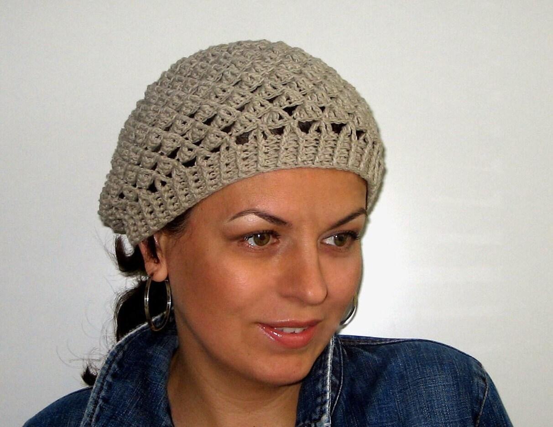Hat Pattern Women Crochet Cotton Hat / Beanie In Gray