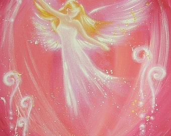 """ANGEL ART POSTER, Guardian angel painting """"Easiness"""" Wall Decor, also for frame,Angel Gift,Christening,Wedding,Birthday"""