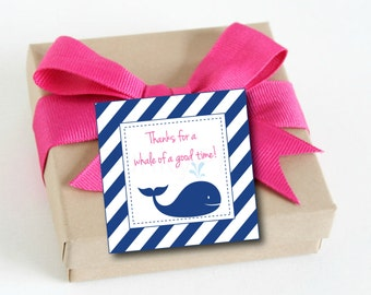 Whale Favor Tags, thank you tags, Pink and Navy,preppy whale thank you tags, Instant Printable PDF