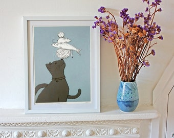 Cat Stack Grey Screenprint - nursery, baby shower, christening - hand made wall art with a shabby chic vintage retro feel