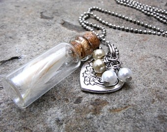 Rooster Feather Necklace, Real Feather Necklace, Mini Glass Bottle Necklace, Cork Bottle Necklace, Cruelty Free Jewelry