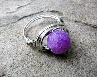 Purple Agate Ring, Wire Wrapped Ring, Purple Ring, Frosted Agate Ring, Wire Wrapped Jewelry Handmade, Purple Stone Ring, Agate Jewelry