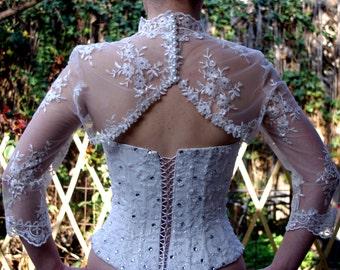 Bridal Bolero Wedding Bridal Jacket Ivory Beaded Lace Pearls 3/4 Sleeve Bride Shrug Prom Jacket