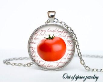 Tomato necklace Tomato necklace pendant Tomato jewelry fruit necklace