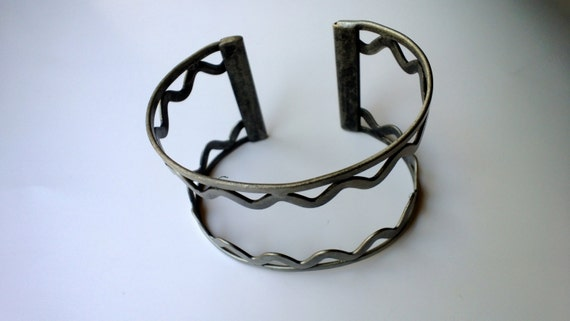 Cuff Bracelet, Antique Silver Metal Cuff, 7 inch, Jewelry Making, Thick Cuff Bracelet Component, Add Beads or Charms