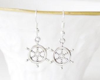 Ahoy Earrings / Captain's Wheel Earrings / Ship Wheel Earrings / Nautical Earrings / Silver Ship's Wheel Earrings / Nautical Jewelry / Beach