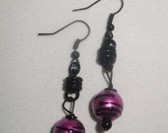 Black Coil Drop Earrings with Pink and Black Bead