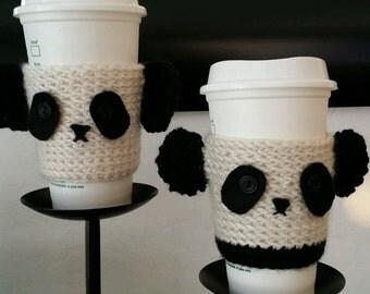 Panda Bear Kawaii bottle cup cozy Cuteness on a cup.
