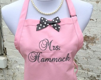 Monogrammed MRS. APRON for the New Bride - Custom Embroidery - Perfect Gift for the Bride - Bridal Shower Gift - Hostess Gift