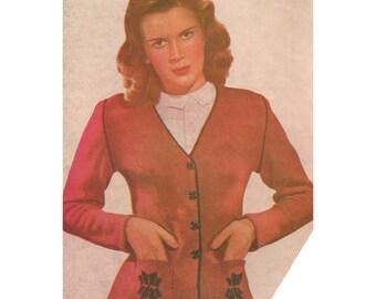 1940s Knitting Pattern for Womens Fair Isle Cardigan Jacket - Digital PDF