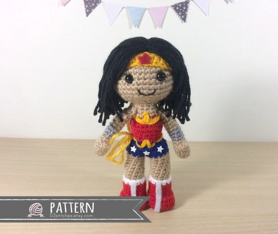 Amigurumi Wonder Woman : Wonder Woman Amigurumi Crochet Doll Pattern