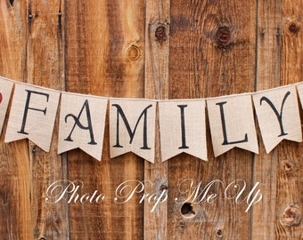 Family Burlap Banner Photography Prop
