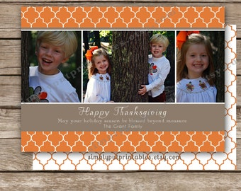 Happy Fall Photo Card | Happy Thanksgiving Photo Card | quatrefoil design | Yellow or Orange fall 5 x 7 Photo Card - Printable Digital File