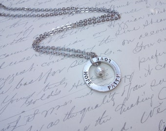 Love hope and faith silver charm necklace with pearl