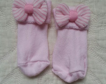 Newborn Socks with Pink & White Striped Bow to match your Newborn Hospital Hat/Beanie