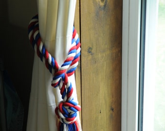 Patriotic Curtain Tiebacks   Nautical Decor   Red White And Blue Cotton  Curtain Tiebacks   (