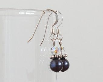 Purple Earrings, Dark Purple Earrings, Minimalist Earrings, Crystal Earrings, Sterling Silver Earwires