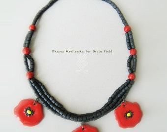 Black poppy necklace made of natural clay